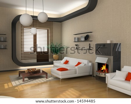 The Modern Interior Design With Fireplace (3d) Stock Ph