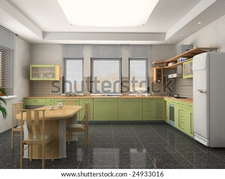 Free Kitchen Design on The Modern Kitchen Interior Design  3d Rendering  Stock Photo 24933016