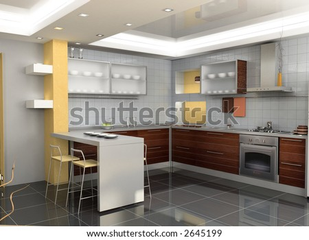 Home Interior Design on The Modern Kitchen Interior Design  3d Rendering  Stock Photo 2645199