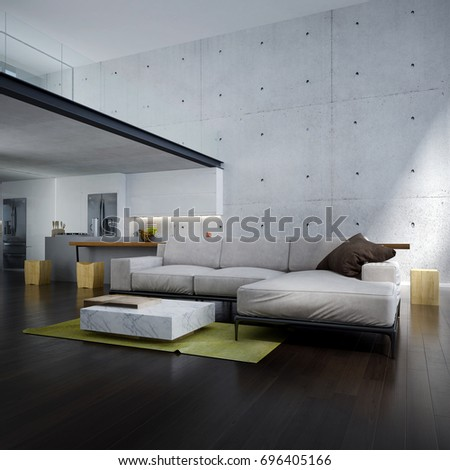 The modern lounge and double space living room interior design and concrete wall background  / 3D rendering interior design new scene