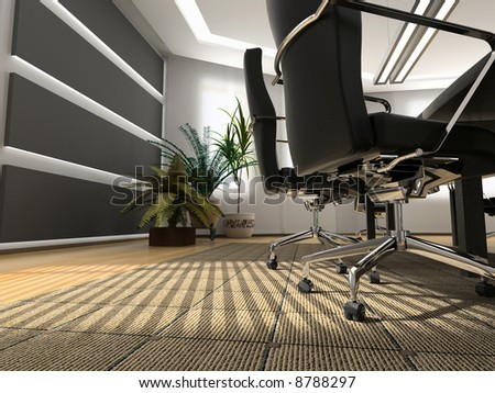 the modern office interior (3D rendering)