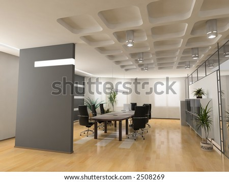 Interior Office Design Photos on The Modern Office Interior Design  3d Render  Stock Photo 2508269
