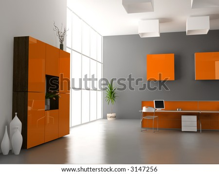 The Modern Office Interior Design (3d Render) Stock Pho