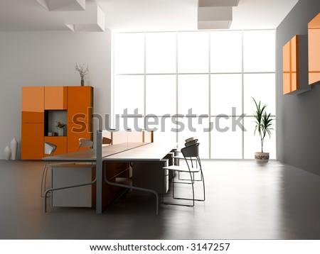 the modern office interior design (3d render) #3147257