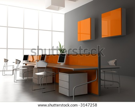 Interior Design Small Office on The Modern Office Interior Design  3d Render  Stock Photo 3147258
