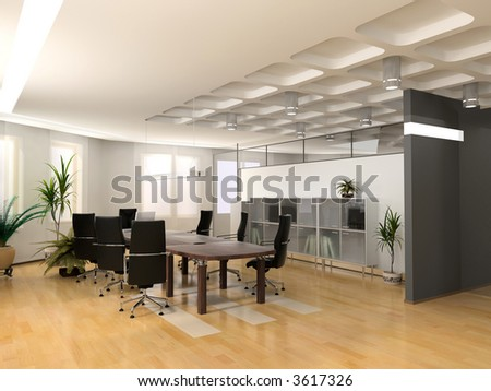 Office Interior Design on The Modern Office Interior Design  3d Render  Stock Photo 3617326