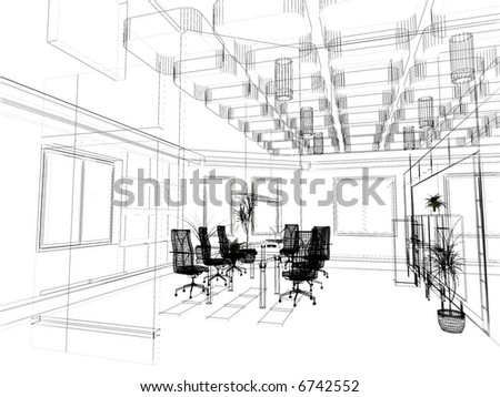 Interior Office Design Photos on The Modern Office Interior Design Sketch  3d Render  Stock Photo