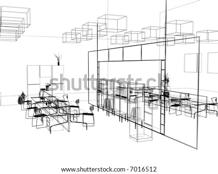 The modern office interior design sketch 3d render