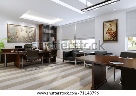 The modern office interior (rendering)