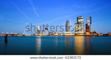 The modern skyline of Rotterdam, the Netherlands at dusk