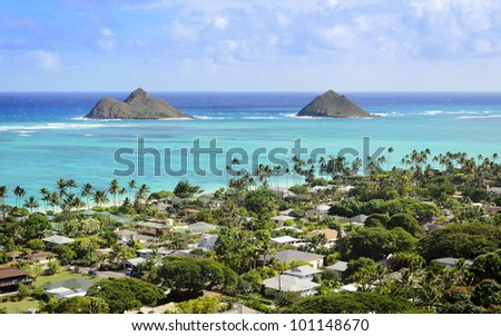 The Mokulua Islands and Lanikai Beach as seen from above in Kailua, O'ahu, Hawai'i