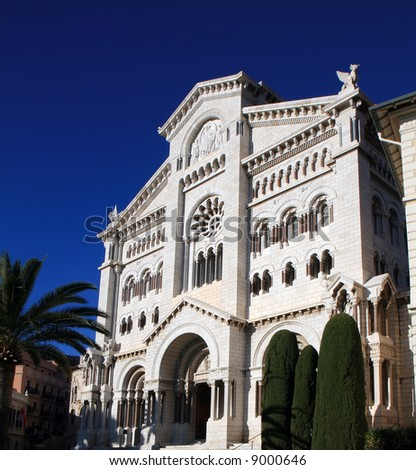 The Monaco Cathedral against deep blue sky.