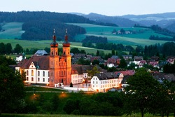 The monastery church of the former Benedictine monastery of St. Peter, dusk, Black Forest, Baden-Württemberg, Germany