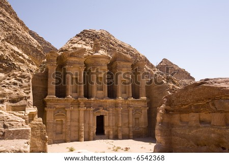 The Monastery - largest building at Petra Jordan - stock photo