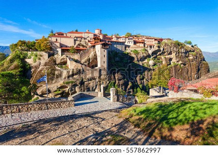 The Monastery of Great Meteoron is the largest monastery at Meteora. Meteora is one of the most precipitously built complexes of Eastern Orthodox monasteries in Greece. #557862997