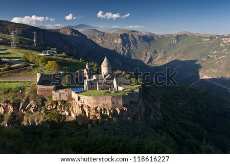 The Monastery of Tatev is a 9th century Armenian monastery located on a large basalt plateau near the Tatev village in Syunik Province.