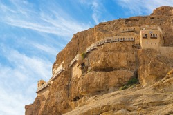The Monastery of the Temptation and The Mount of Temptation in Jericho, Palestine. Greek Orthodox monastery. Judean desert