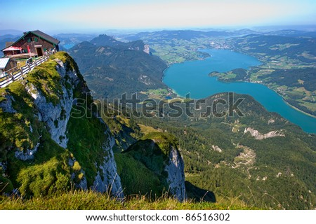 The Mondsee in Austria seen from the 1784 meters high mountain Schafberg