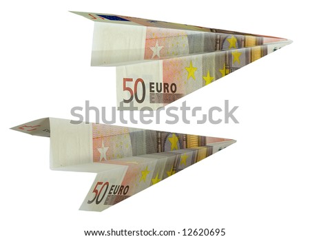 The Money bill by value in fifty euro presented in the manner of paper airplane.