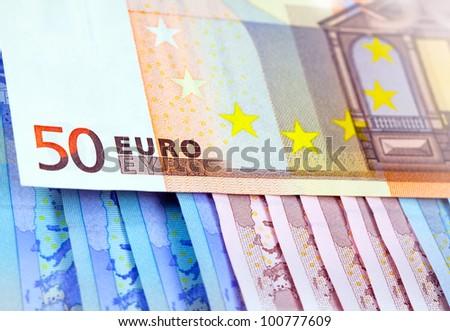 The money euro. Bundle of bank notes
