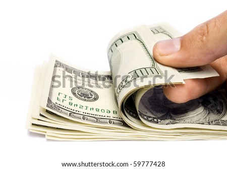 The money in hand isolated on white background