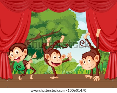 The monkeys are on the stage - EPS VECTOR format also available in my portfolio.