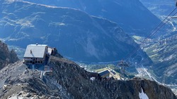 The Mont Blanc Italian side, in the photo you can see the Torino refuge and Courmayeur