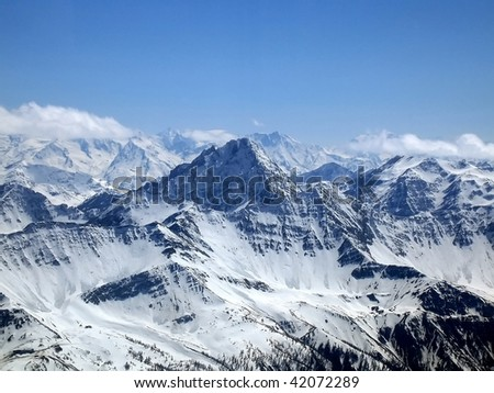 The Mont Blanc (Monte Bianco) massif, the highest mountain of Europe seen from the Italian side on a beautiful day