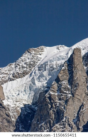 The Montblanc Massif, Italian Monte Bianco, is at 4810 m altitude, the highest mountain in the Alps and the whole of Europe
