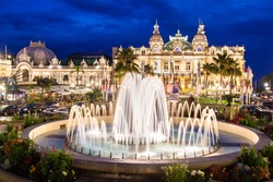 The Monte Carlo Casino, gambling and entertainment complex in Monte Carlo, Monaco, Cote de Azul, Europe. It includes a casino, Grand Theatre de Monte Carlo, and office of Les Ballets de Monte Carlo.