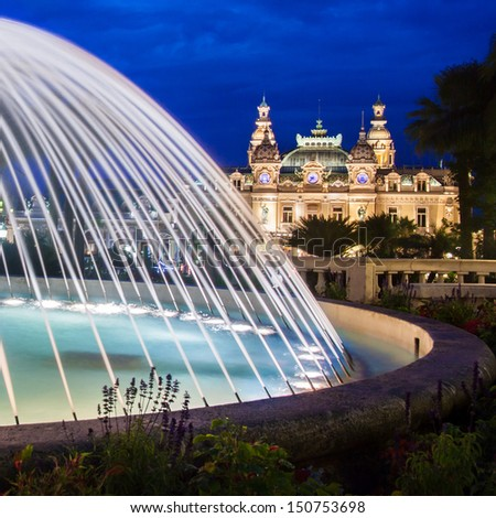 The Monte Carlo Casino in Monte Carlo Monaco Cote de Azul France Europe includes a casino the Grand Theatre de Monte Carlo and the office of Les Ballets de Monte Carlo
