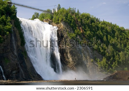 The Montmorency Falls, or Chutes Montmorency in French, is one of the most popular tourist attraction in Quebec city. This image is from an angle that is not accessible from the park's regular trails.