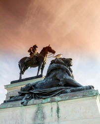 the monument in front of the Capitol,  a statue of general Ulysses S. Grant on a horse. Washington DC
