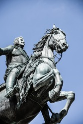 The monument of Charles III on Puerta del Sol in Madrid, Spain ( HDR image )