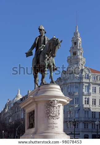 The monument of the king Pedro IV on the main square of Porto - Portugal