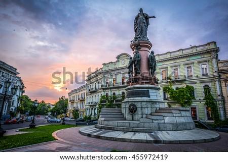 The monument to Catherine 2 in Odessa, Ukraine, Europe. #455972419