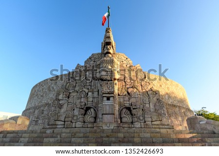 the Monument to the Fatherland in Merida, Yucatan, Mexico at sunrise #1352426693
