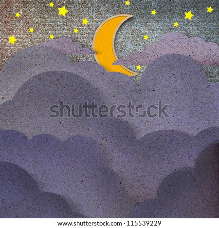 The moon and black cloud recycled paper craft  on white background