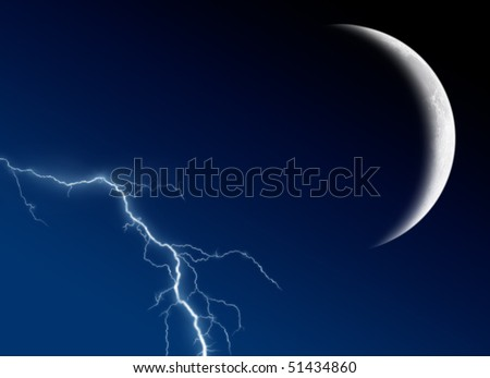 The moon and lightning in the night sky