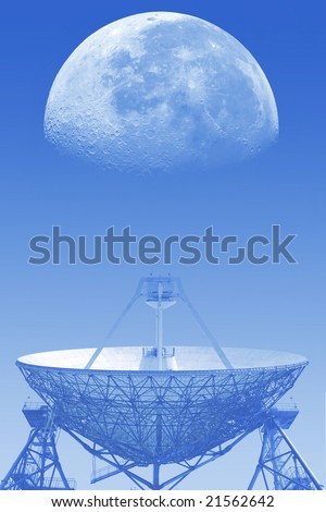 The moon and radio telescope. In a blue tonality.