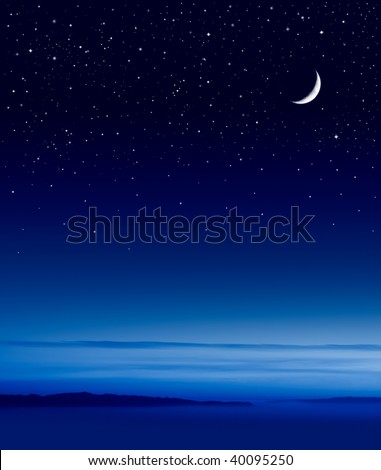 The moon and stars over the Pacific ocean.