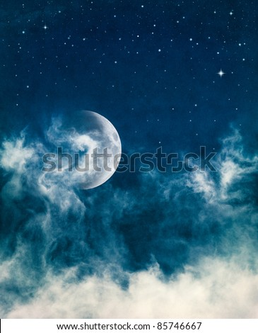 The moon and swirling fog with subtle cross-processed colors.  Image has a beautiful paper texture and grain at 100%.