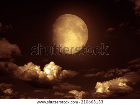 """The moon in the night sky in clouds """"Elements of this image furnished by NASA"""" #210663133"""
