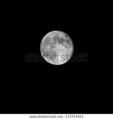 The moon in the night sky over the Dead sea - Israel - stock photo