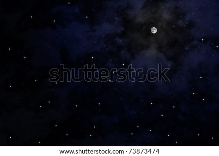 The moon on sky at night