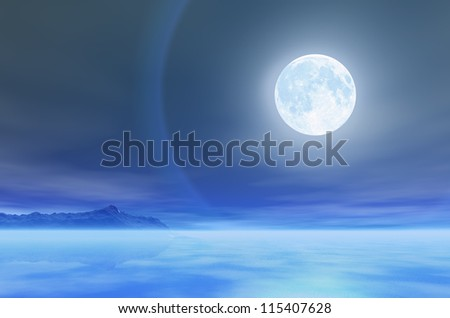 The moon over the sea