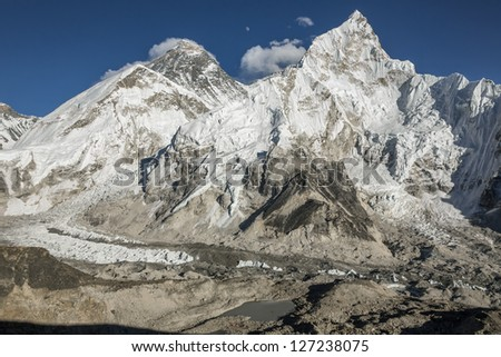 The moon rises over the Mt. Everest (8848 m) and Nuptse (7864 m) (view from Kala Patthar) - Nepal, Himalayas