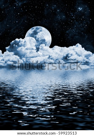 The moon setting over clouds and water with reflections; a cold toned black and white image.
