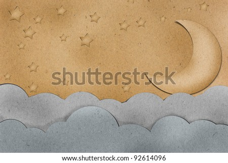 the moon view on brown paper