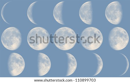 The Moon with it's Phases during day time